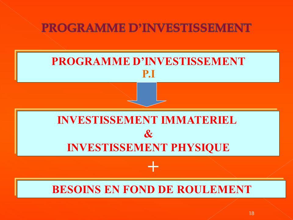 PROGRAMME D'INVESTISSEMENT