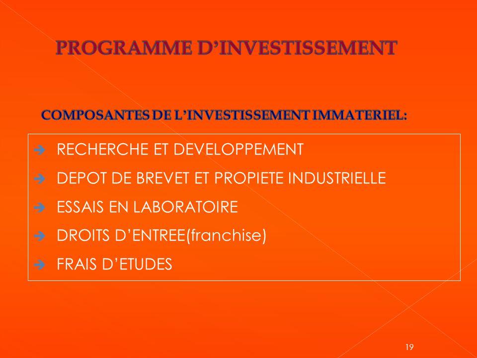 PROGRAMME D'INVESTISSEMENT COMPOSANTES DE L'INVESTISSEMENT IMMATERIEL: