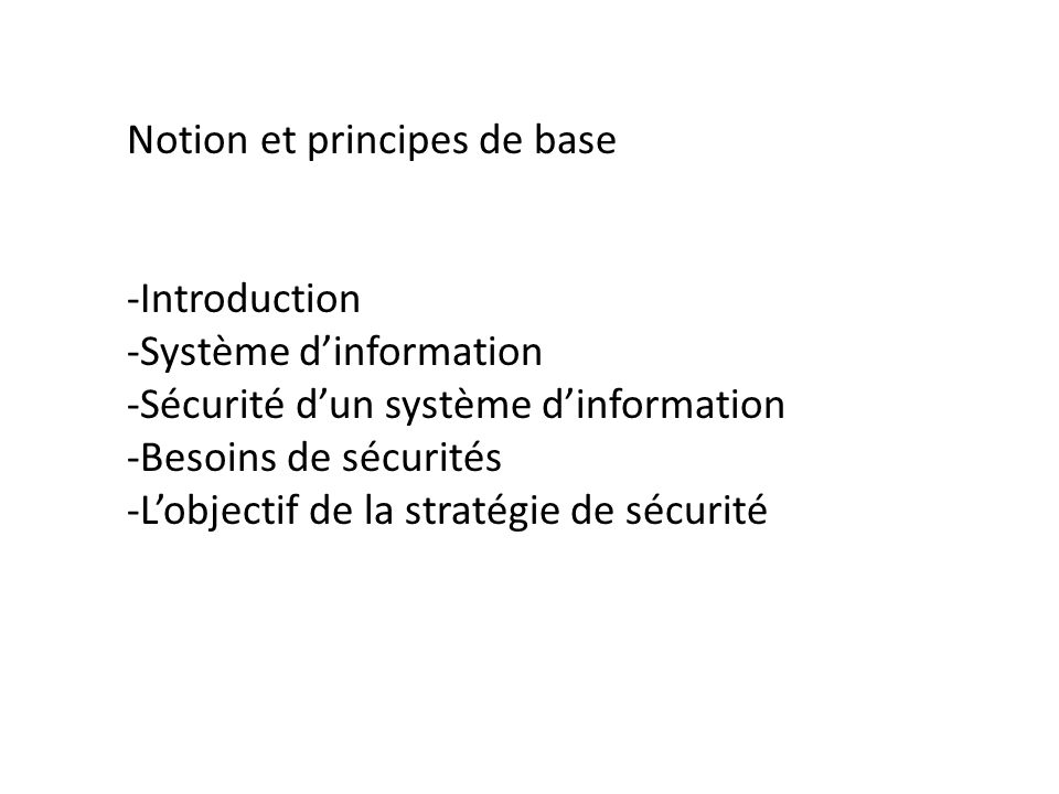 Notion et principes de base