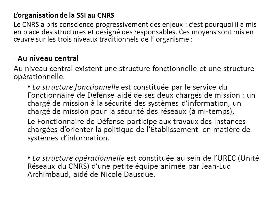 L'organisation de la SSI au CNRS