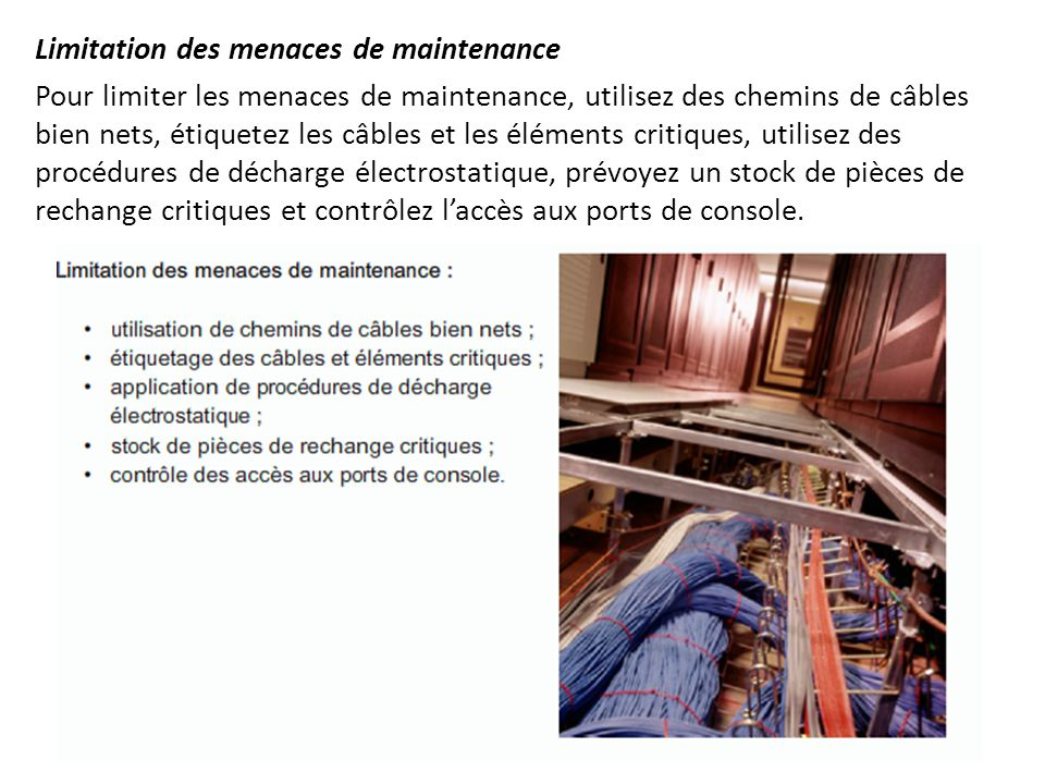 Limitation des menaces de maintenance