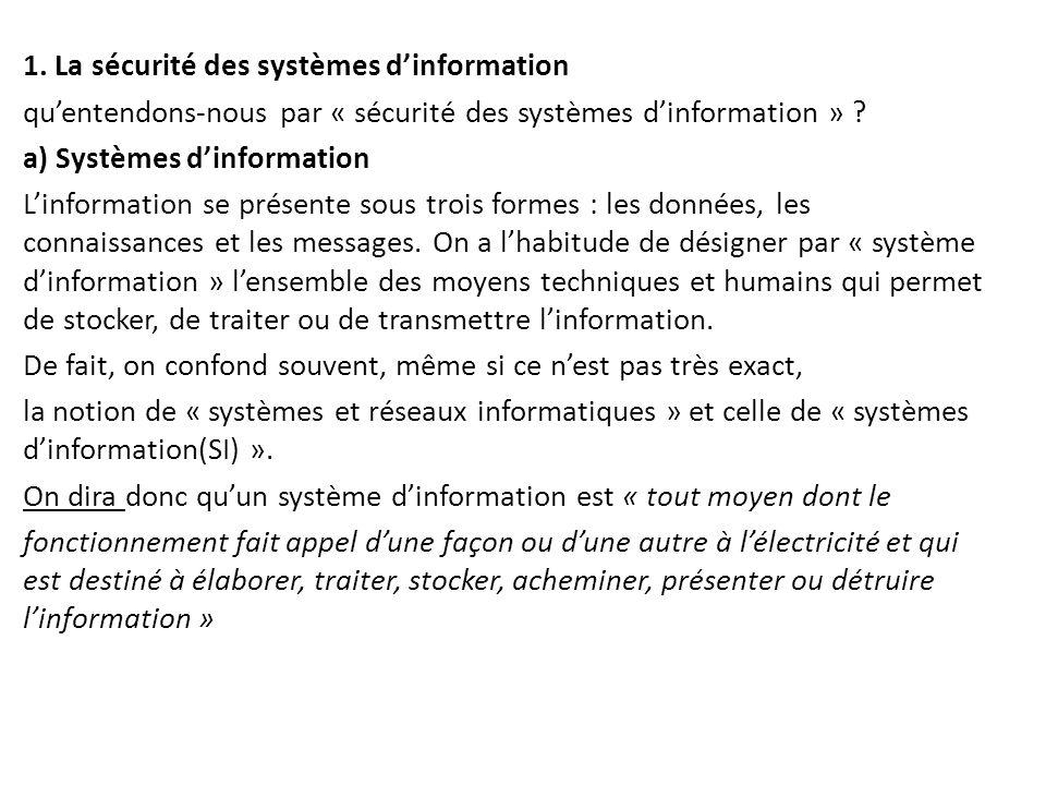 1. La sécurité des systèmes d'information