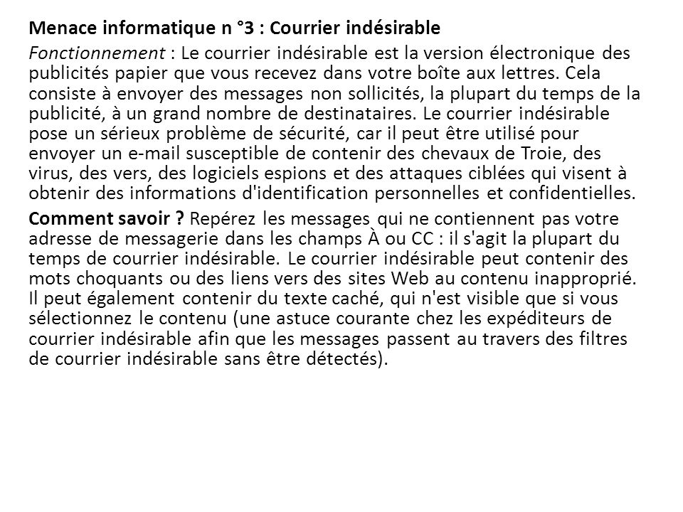 Menace informatique n °3 : Courrier indésirable