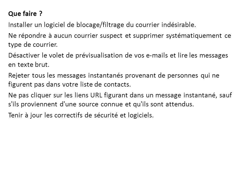 Que faire Installer un logiciel de blocage/filtrage du courrier indésirable.
