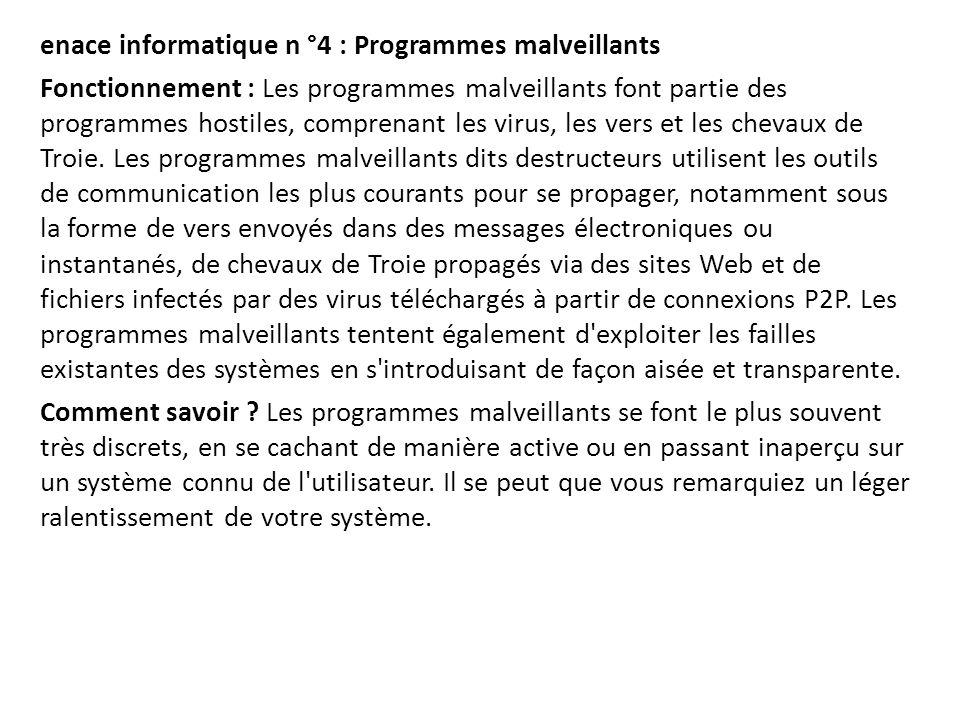 enace informatique n °4 : Programmes malveillants