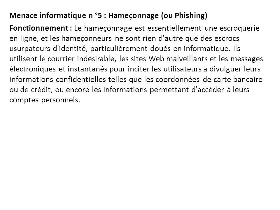 Menace informatique n °5 : Hameçonnage (ou Phishing)
