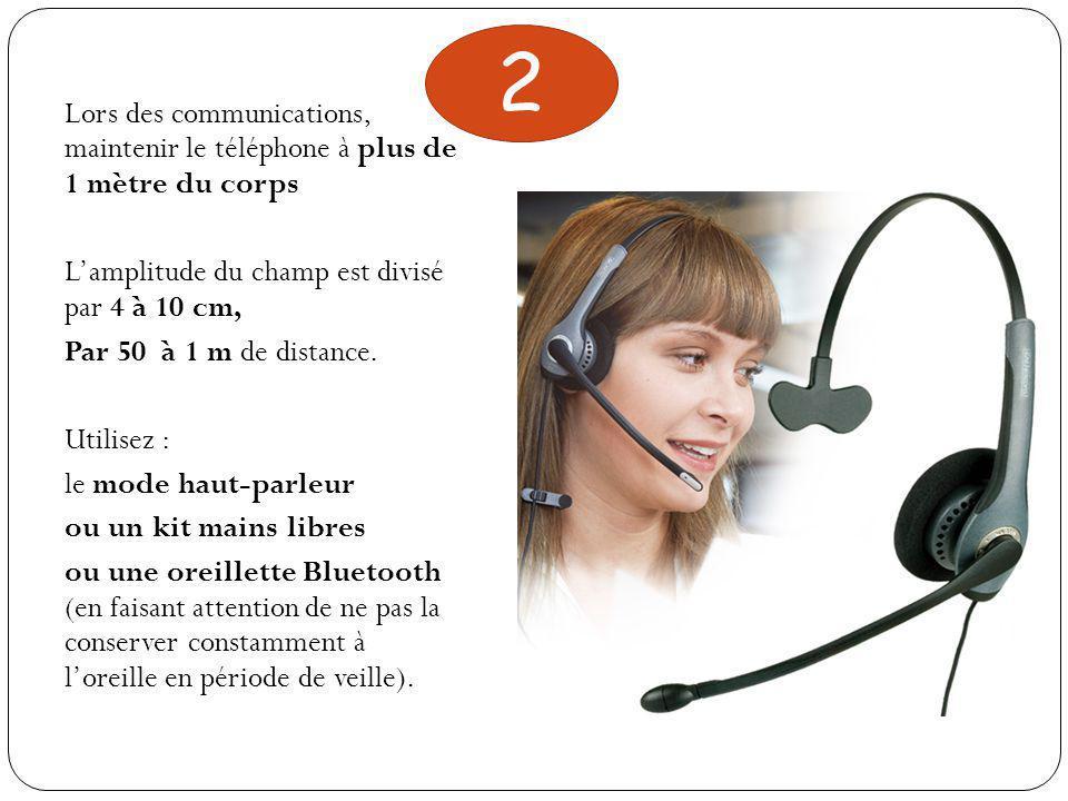 2 Lors des communications, maintenir le téléphone à plus de 1 mètre du corps. L'amplitude du champ est divisé par 4 à 10 cm,