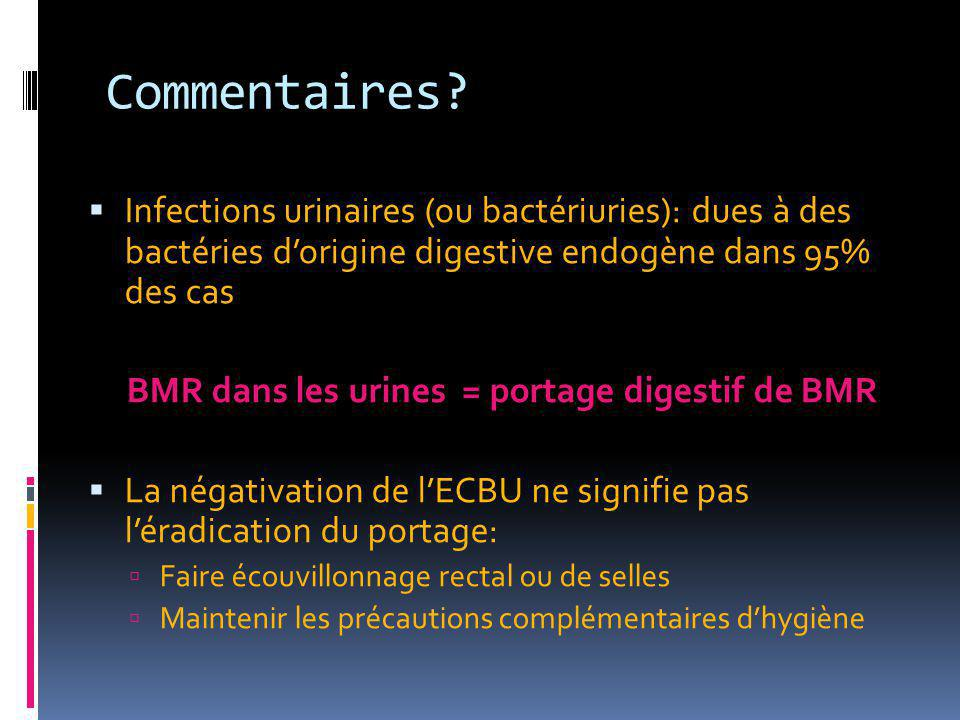 BMR dans les urines = portage digestif de BMR