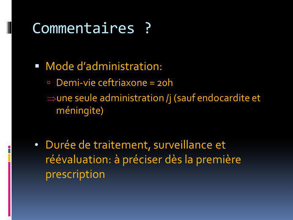 Commentaires Mode d'administration: