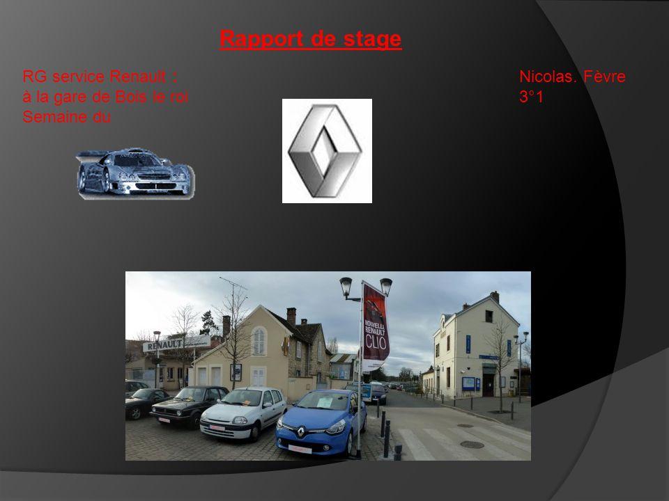 Rapport de stage RG service Renault : à la gare de Bois le roi