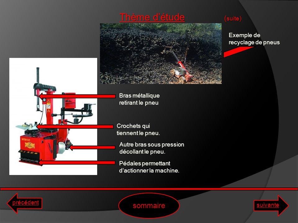 Thème d'étude (suite) sommaire Exemple de recyclage de pneus