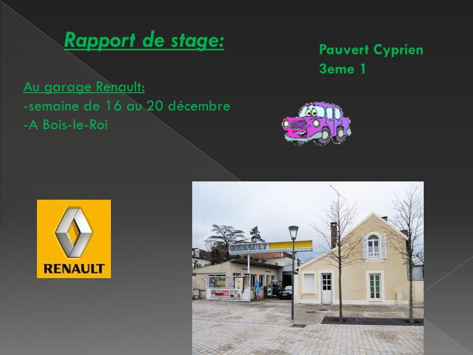 Populaire Rapport de stage: Pauvert Cyprien 3eme 1 Au garage Renault: - ppt  GS86