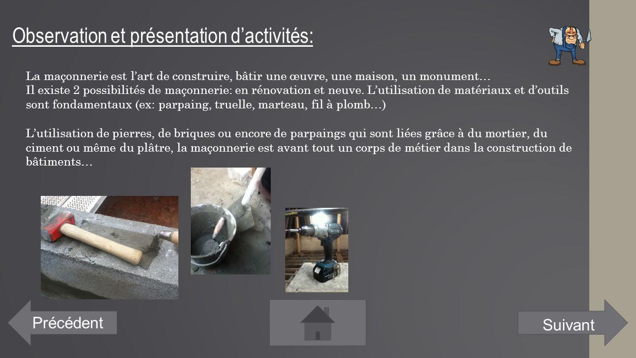 Observation et présentation d'activités: