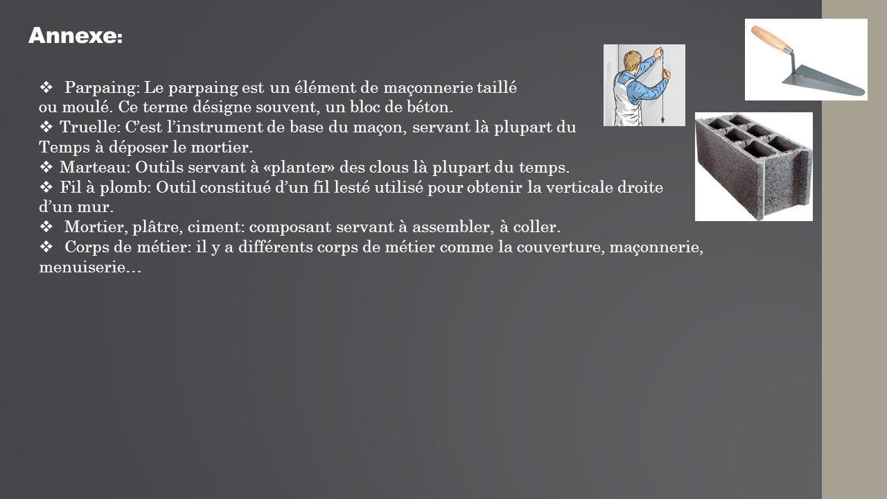 Annexe: Parpaing: Le parpaing est un élément de maçonnerie taillé