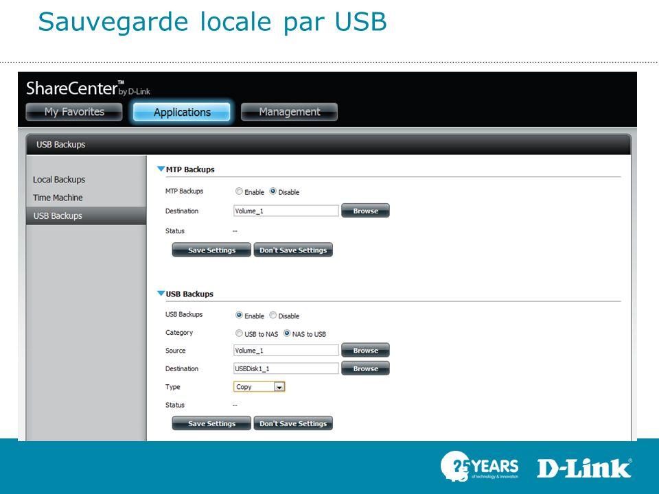 Sauvegarde locale par USB