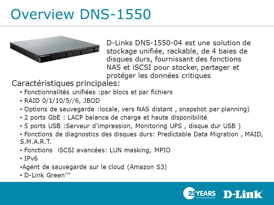 Overview DNS-1550 Caractéristiques principales: