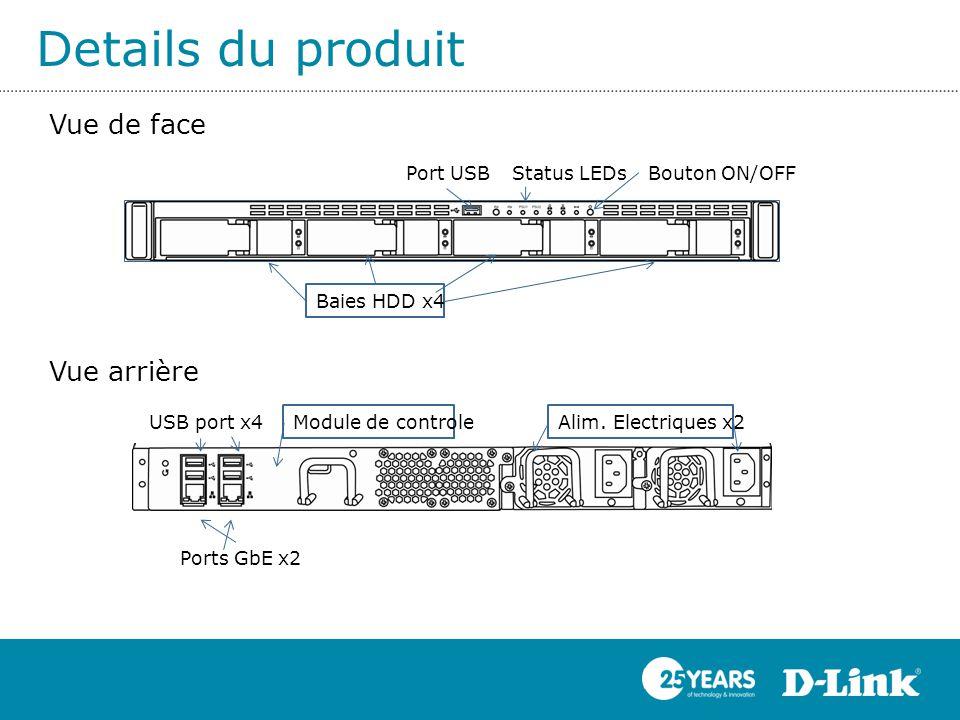 Details du produit Vue de face Vue arrière Port USB Status LEDs