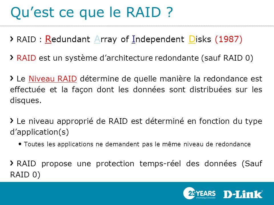 Qu'est ce que le RAID RAID : Redundant Array of Independent Disks (1987) RAID est un système d'architecture redondante (sauf RAID 0)