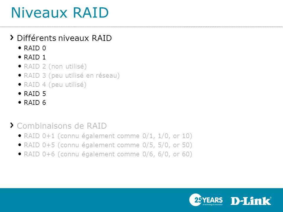 Niveaux RAID Différents niveaux RAID Combinaisons de RAID RAID 0