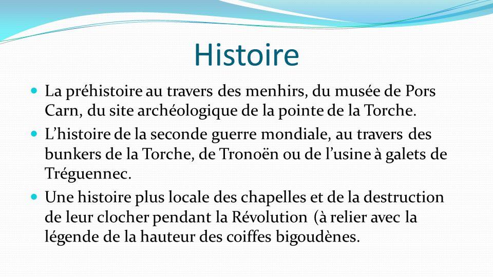 Histoire La préhistoire au travers des menhirs, du musée de Pors Carn, du site archéologique de la pointe de la Torche.