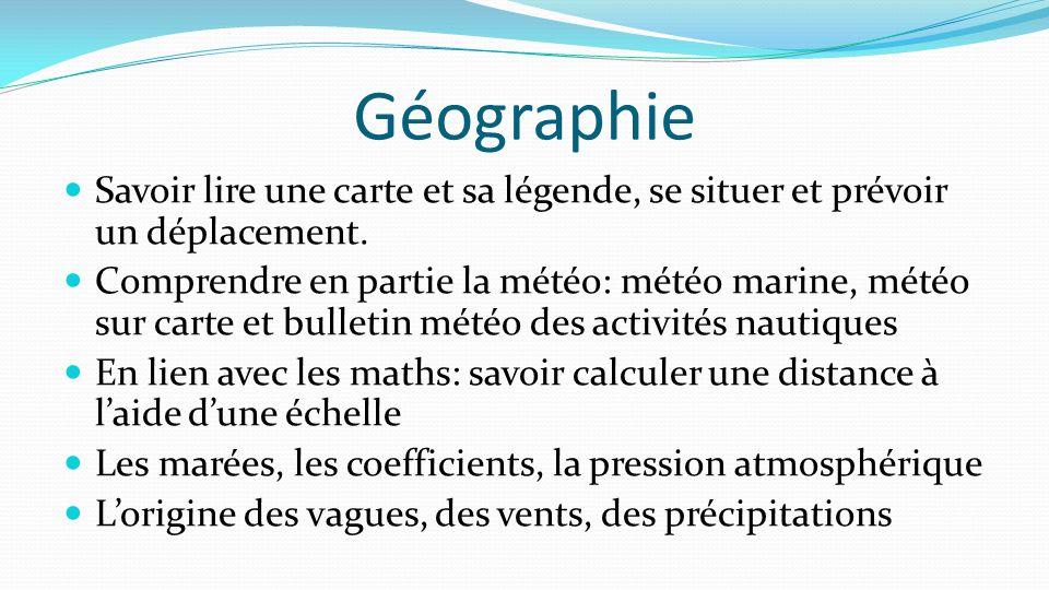 Géographie Savoir lire une carte et sa légende, se situer et prévoir un déplacement.
