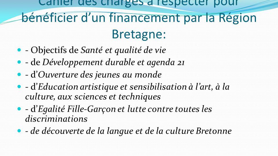 Cahier des charges à respecter pour bénéficier d'un financement par la Région Bretagne: