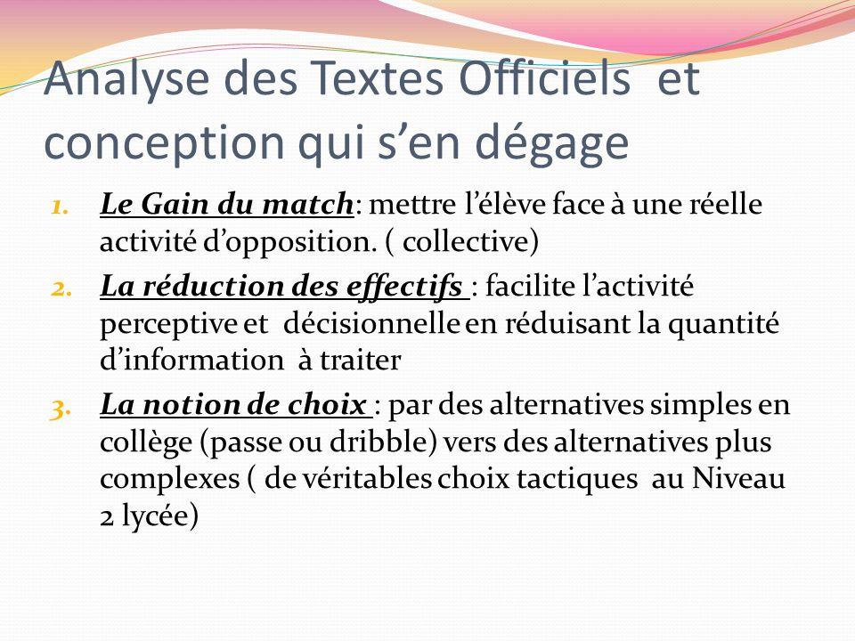 Analyse des Textes Officiels et conception qui s'en dégage