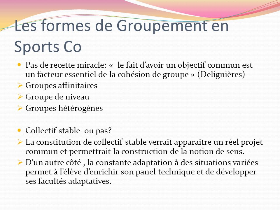 Les formes de Groupement en Sports Co