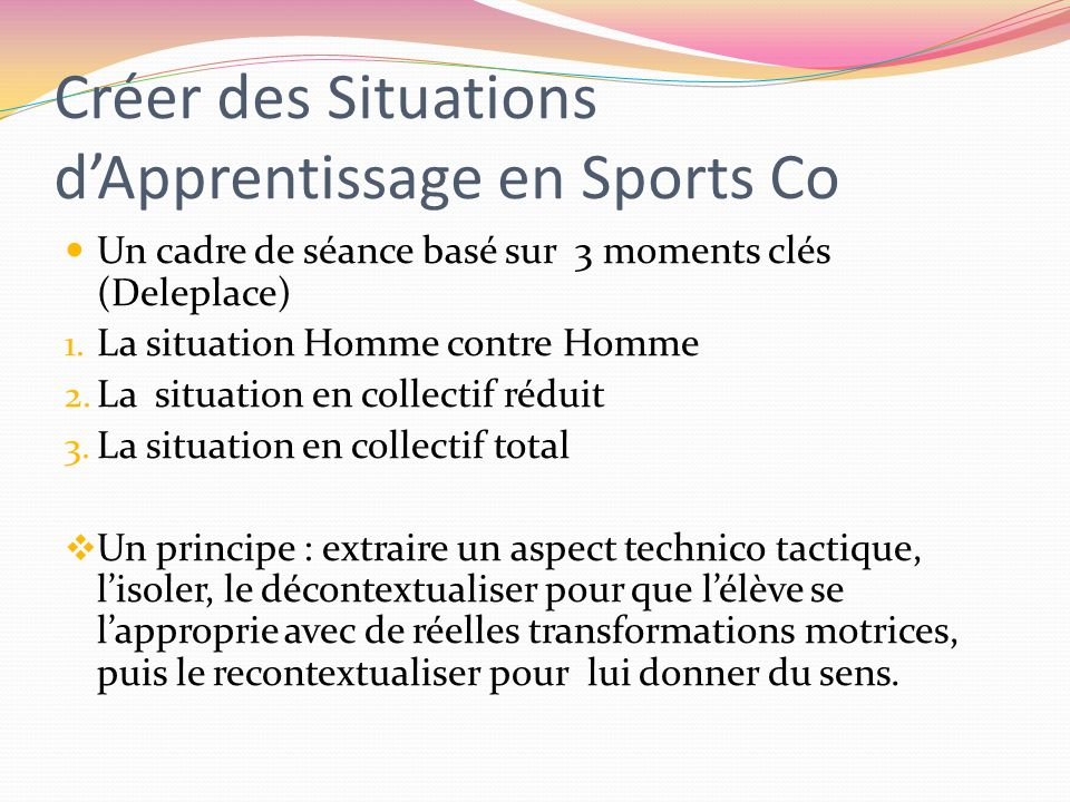 Créer des Situations d'Apprentissage en Sports Co