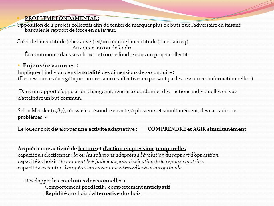 Enjeux/ressources : PROBLEME FONDAMENTAL :