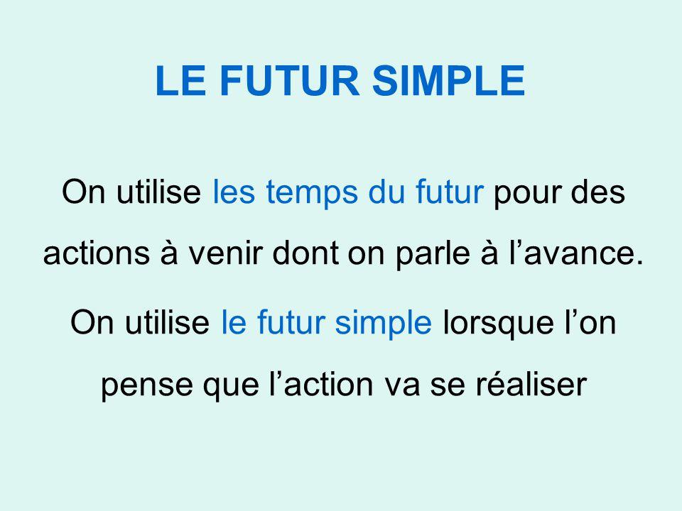 LE FUTUR SIMPLE On utilise les temps du futur pour des actions à venir dont on parle à l'avance.