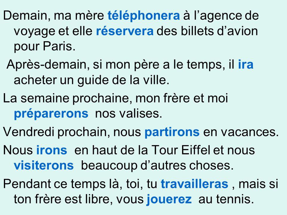 Demain, ma mère téléphonera à l'agence de voyage et elle réservera des billets d'avion pour Paris.