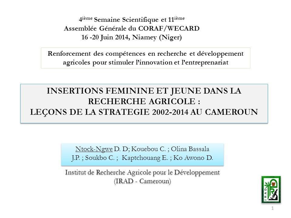INSERTIONS FEMININE ET JEUNE DANS LA RECHERCHE AGRICOLE :