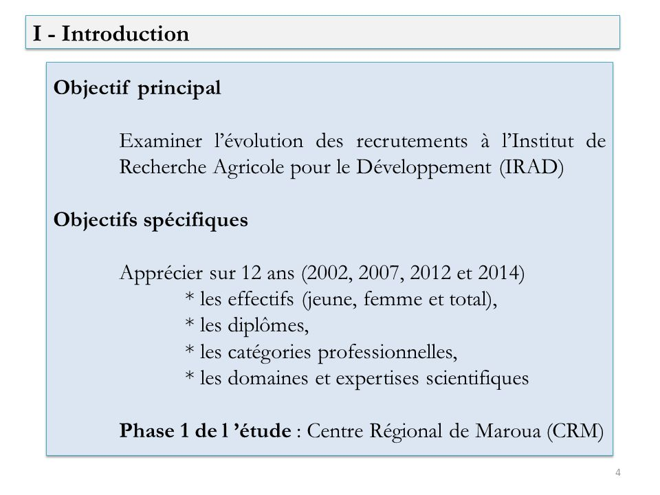 I - Introduction Objectif principal