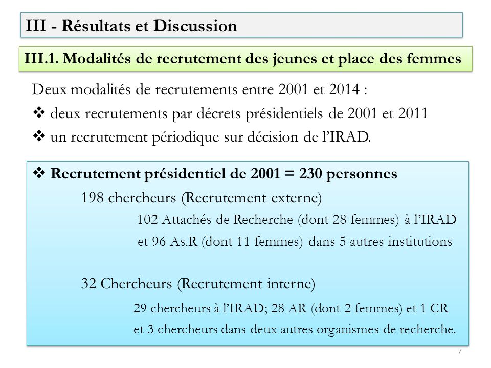 III - Résultats et Discussion