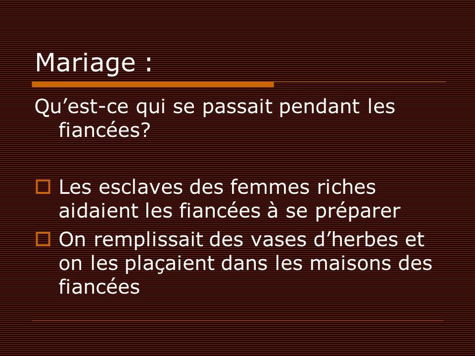 Mariage : Qu'est-ce qui se passait pendant les fiancées