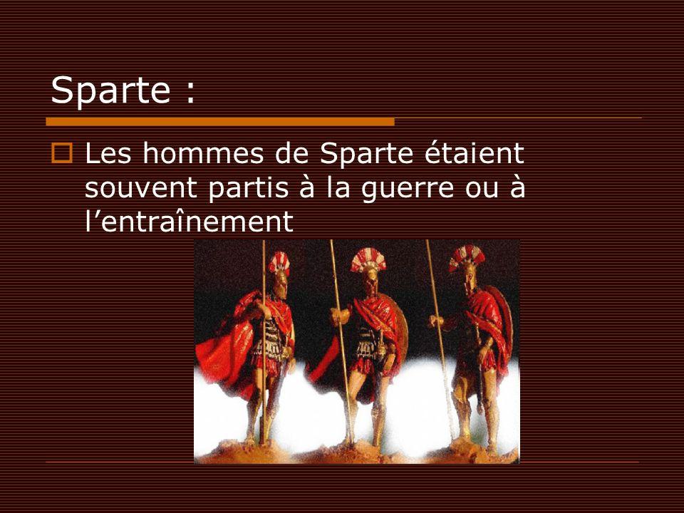 Sparte : Les hommes de Sparte étaient souvent partis à la guerre ou à l'entraînement