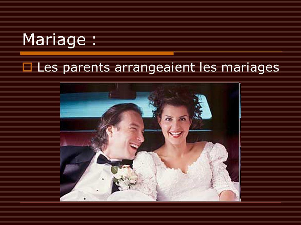 Mariage : Les parents arrangeaient les mariages