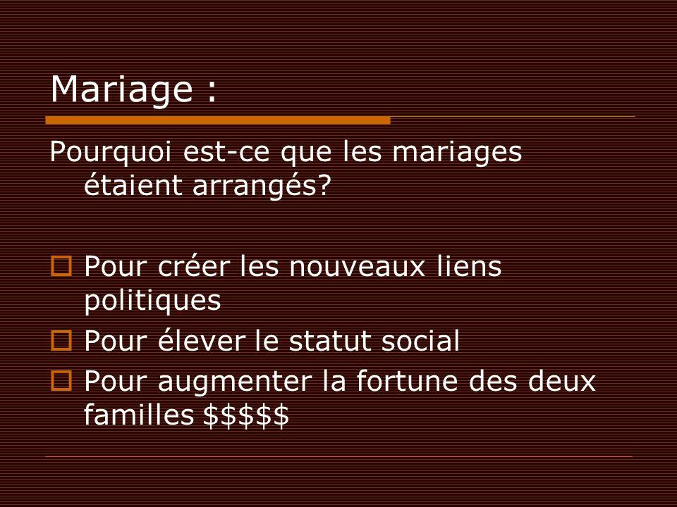 Mariage : Pourquoi est-ce que les mariages étaient arrangés
