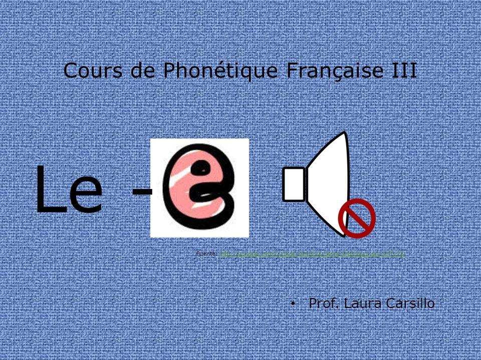 Cours de Phonétique Française III