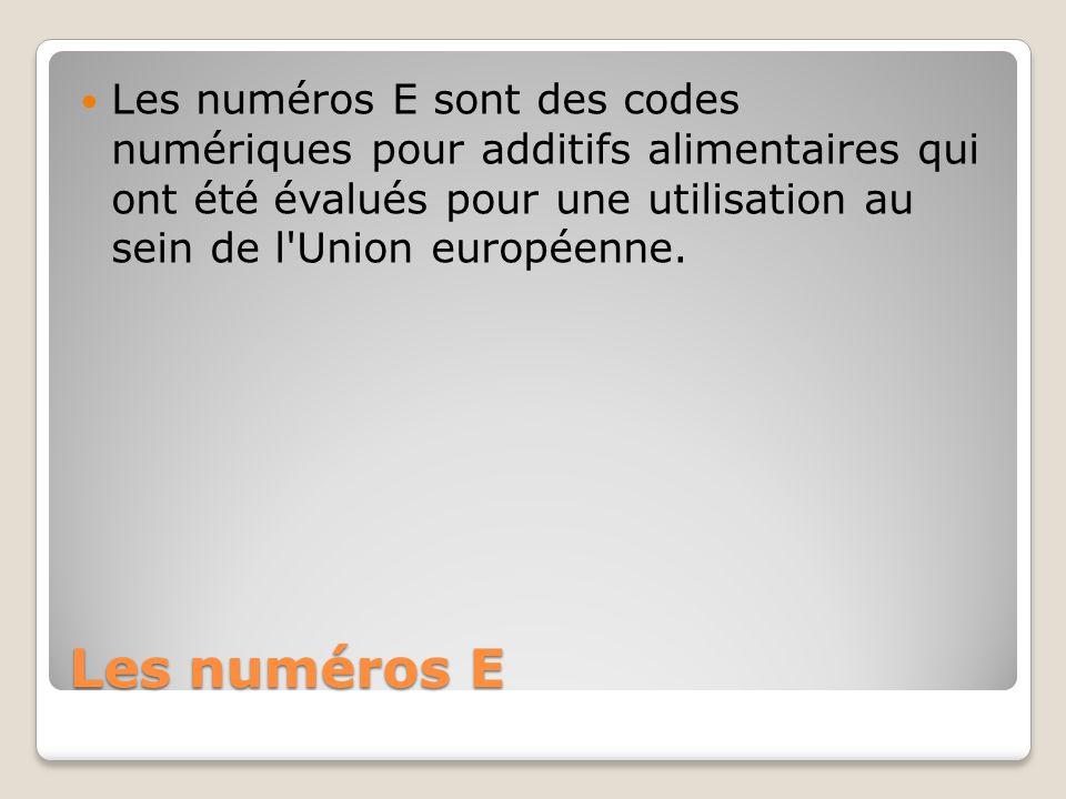 Les numéros E sont des codes numériques pour additifs alimentaires qui ont été évalués pour une utilisation au sein de l Union européenne.
