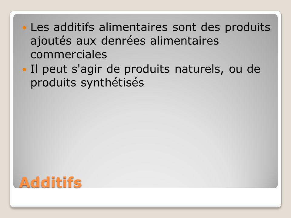 Les additifs alimentaires sont des produits ajoutés aux denrées alimentaires commerciales