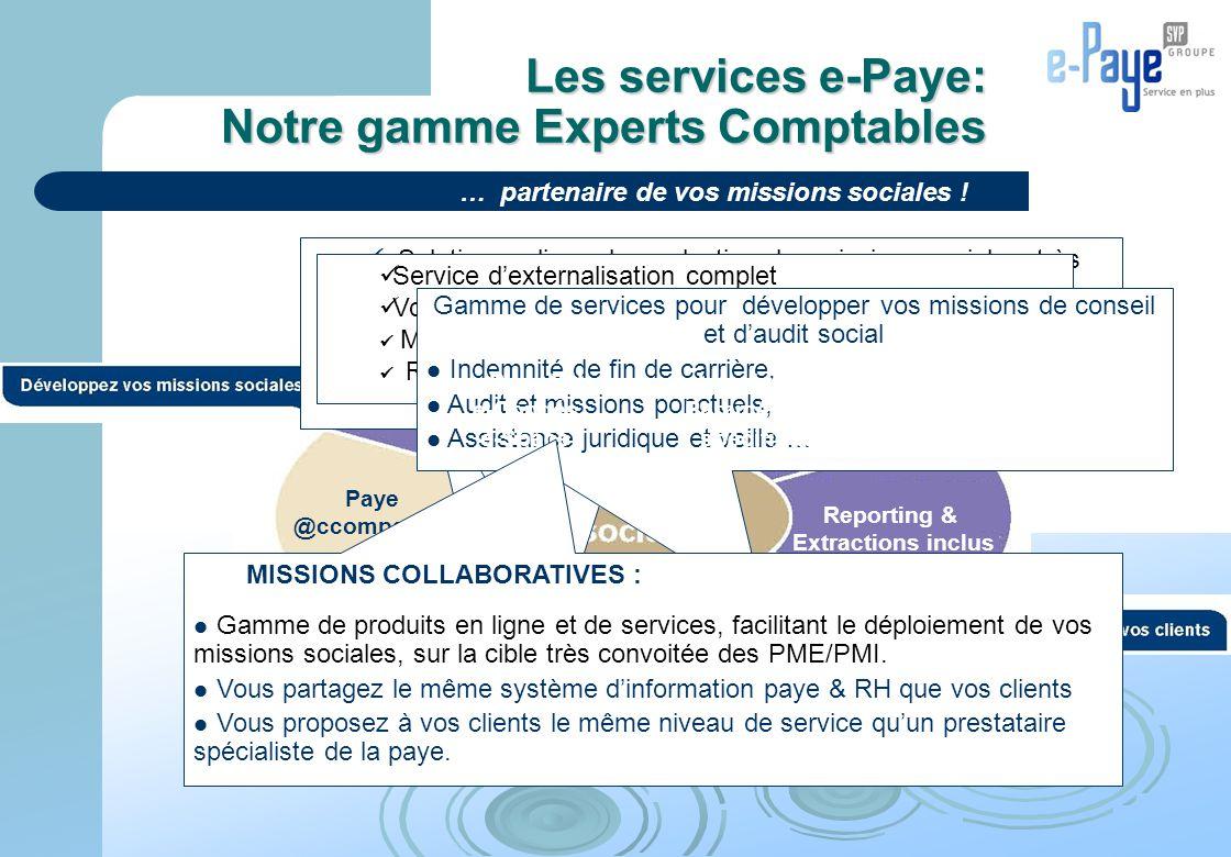 Les services e-Paye: Notre gamme Experts Comptables