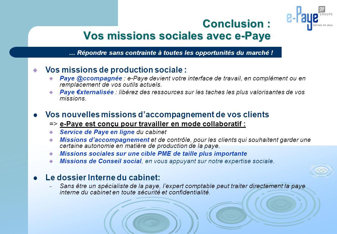 Conclusion : Vos missions sociales avec e-Paye