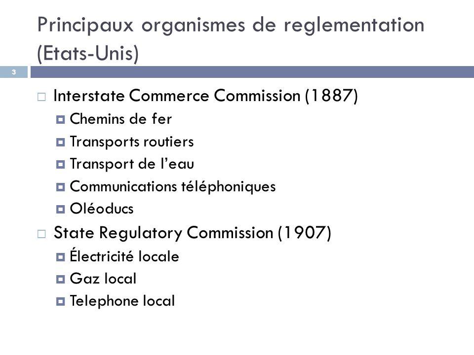 Principaux organismes de reglementation (Etats-Unis)
