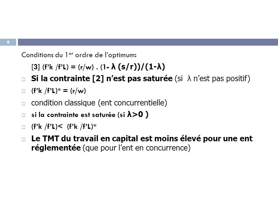 Conditions du 1er ordre de l'optimum: