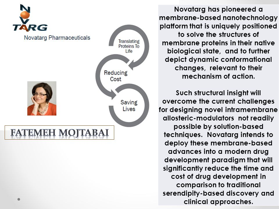 Novatarg has pioneered a membrane-based nanotechnology platform that is uniquely positioned to solve the structures of membrane proteins in their native biological state, and to further depict dynamic conformational changes, relevant to their mechanism of action.