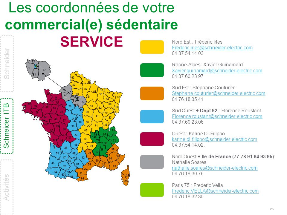 Les coordonnées de votre commercial(e) sédentaire SERVICE