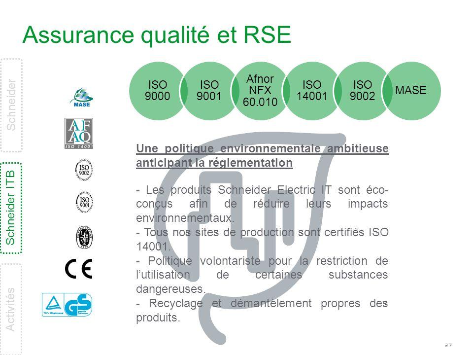 Assurance qualité et RSE