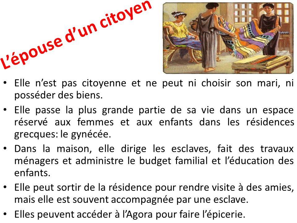 L'épouse d'un citoyen Elle n'est pas citoyenne et ne peut ni choisir son mari, ni posséder des biens.
